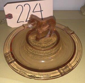 Depression glass cigar rest w/ wolf hound on top