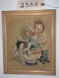Antique Raised print of baby w/ bottle, dog, and cat by Charlotte Becker