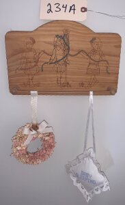 Wooden towel rack w/ dancing girls