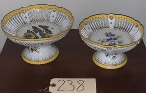 2 porcelain hand painted rose bowls