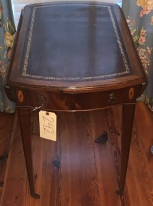 Duncan phyfe style drop leaf side table w/ leather and wood inlay