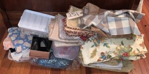 Yards and Yards of Vintage Fabric, Assorted Sewing items and pair ladies shoes