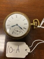 Waltham pocket watch, 21 jewels, 14k gold case marked, runs a few seconds, then stops. As-is. Buyer to verify if gold.