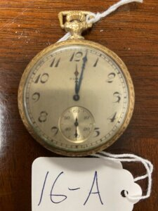 "Elgin pocket watch, 14k gold filled case, Personalized ""From Isabell to Will 12-25-1923, 17 jewels, seems to be working."
