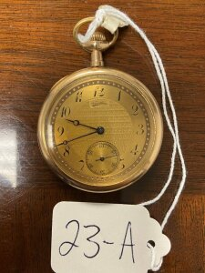 Southbend pocket watch, 17 jewels, gold colored case, face AS-IS, seems to be working.