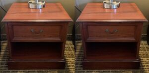 Pair of solid wood nightstands - Room 105