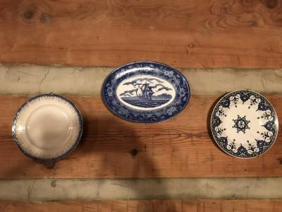 3 Blue And White Plates One Is Flow Blue