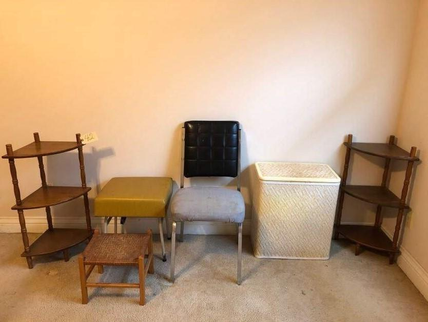 Lot 42 Of 133: 2 Matching Corner Shelves, Chair, 2 Stools, Clothes Hamper