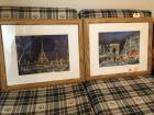 2 framed prints with scenes from Paris