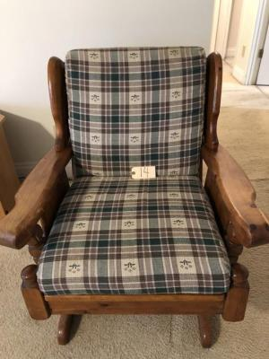 Pine wooden rocker with upholstered seat