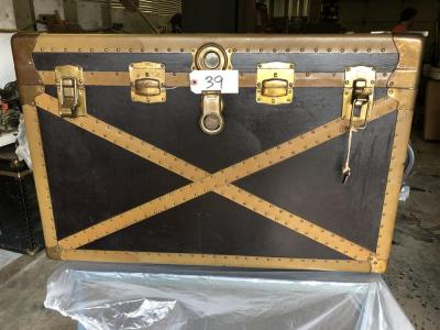 Large antique trunk w/ brass edges